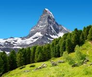 Bello paesaggio della montagna con le viste del picco del Cervino Fotografie Stock
