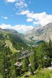 Bello paesaggio della montagna del ghiacciaio di Miage Immagini Stock