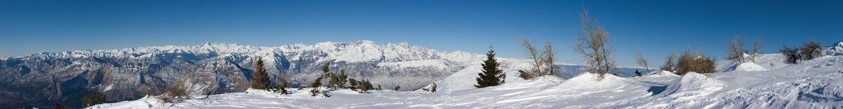 Bello paesaggio della montagna di inverno Fotografie Stock Libere da Diritti