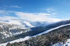 Bello paesaggio della montagna di inverno dalla montagna di Rila, Bulgaria Fotografia Stock