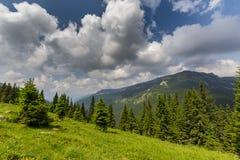 Bello paesaggio della montagna nelle alpi di Transylvanian Fotografie Stock