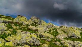 Bello paesaggio della montagna nelle alpi di Transylvanian Immagini Stock