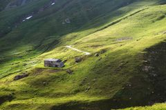 Bello paesaggio della montagna Prati alpini verdi, casa della montagna Le mucche pascono nei campi Concetto di viaggio Alpi, Fran fotografia stock libera da diritti