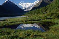 Bello paesaggio della montagna vicino al lago Mountain Lake Genere di terreno montagnoso e dell'acqua nella valle Immagini Stock Libere da Diritti