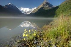 Bello paesaggio della montagna vicino al lago Mountain Lake Genere di terreno montagnoso e dell'acqua nella valle Immagine Stock Libera da Diritti