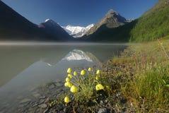 Bello paesaggio della montagna vicino al lago Mountain Lake Genere di terreno montagnoso e dell'acqua nella valle Fotografia Stock