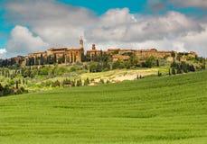Bello paesaggio della Toscana, Toscana, medievale italiano di Pienza villaItaly fotografia stock