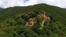 Bello paesaggio della valle di Alazani e monastero di Nekresi in Georgia, viaggio stock footage