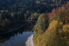 Bello paesaggio di autunno con un ponte Immagini Stock