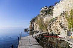 Bello paesaggio di autunno in lago Ocrida Immagini Stock Libere da Diritti