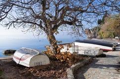 Bello paesaggio di autunno in lago Ocrida Immagini Stock