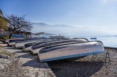 Bello paesaggio di autunno in lago Ocrida Fotografia Stock