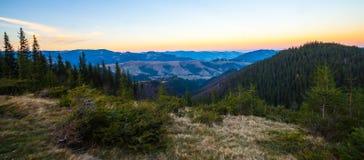 Bello paesaggio di autunno in montagne Karpaty nella foresta Immagine Stock Libera da Diritti