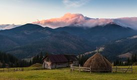 Bello paesaggio di autunno in montagne Karpaty nella foresta Fotografia Stock
