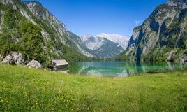 Bello paesaggio di estate al Obersee, Koenigssee, Bavari Immagine Stock Libera da Diritti