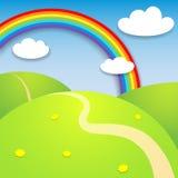 Bello paesaggio di estate con l'arcobaleno Immagini Stock Libere da Diritti