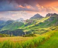 Bello paesaggio di estate delle alpi italiane Fotografie Stock Libere da Diritti