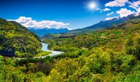 Bello paesaggio di estate nelle alpi Fotografia Stock