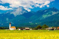 Bello paesaggio di estate di piccolo villaggio con una vecchia cappella Fotografie Stock Libere da Diritti