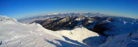 Bello paesaggio di inverno in Carpathians Fotografia Stock Libera da Diritti