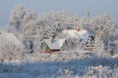 Bello paesaggio di inverno con gli alberi e le case coperti di neve Immagine Stock