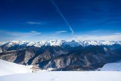 Bello paesaggio di inverno delle montagne di Caucaso Fotografia Stock Libera da Diritti