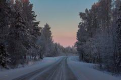 Bello paesaggio di inverno in Lapponia, Finlandia Fotografie Stock Libere da Diritti
