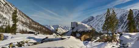 Bello paesaggio di inverno, montagne di Altai, Siberia, Russia Fotografie Stock