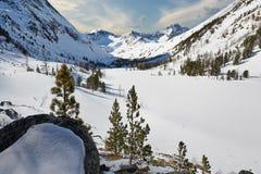 Bello paesaggio di inverno, montagne di Altai, Siberia, Russia Fotografie Stock Libere da Diritti