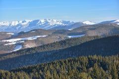 Bello paesaggio di inverno nelle montagne Fotografia Stock