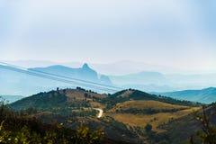 Bello paesaggio di Meteora da lontano fotografia stock