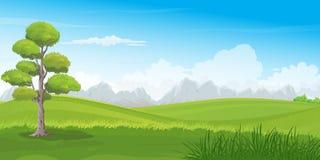 Bello paesaggio di Rolling Hills con la fila delle montagne sull'orizzonte royalty illustrazione gratis