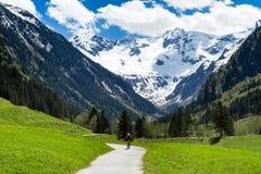 Bello paesaggio di Stiluptal un giorno soleggiato con i picchi di montagna nei precedenti Stilluptal, Austria, Tirolo Immagine Stock Libera da Diritti