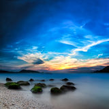 Bello paesaggio di tramonto dell'oceano Fotografia Stock Libera da Diritti