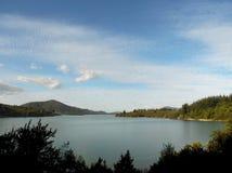 Bello paesaggio di un lago nel sud del territorio cileno immagini stock libere da diritti