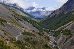 Bello paesaggio di una valle a Torres del Paine Immagine Stock Libera da Diritti