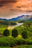 Bello paesaggio la montagna ed il fiume in India Kerala Fotografie Stock Libere da Diritti