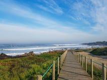 Bello paesaggio lungo la strada di pellegrinaggio di Saint James, Portoghese di Camino, Portogallo della molla fotografie stock