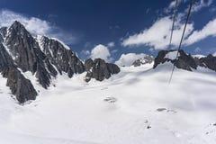 Bello paesaggio maestoso del massiccio di Mont Blanc nelle alpi Fotografie Stock
