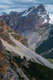 Bello paesaggio nelle dolomia, Fanes-Sennes-Braies, Italia della montagna Immagini Stock