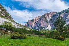 Bello paesaggio nelle dolomia, Fanes-Sennes-Braies, Italia della montagna Fotografia Stock Libera da Diritti