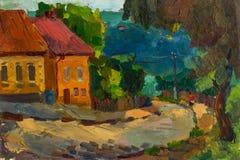 Bello paesaggio originale della pittura a olio su tela Immagine Stock Libera da Diritti