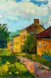 Bello paesaggio originale della pittura a olio su tela Fotografie Stock Libere da Diritti
