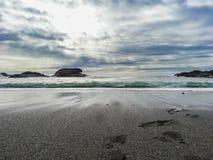 Bello paesaggio panoramico di una spiaggia all'oceano Pacifico fotografia stock libera da diritti