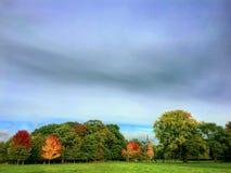 Bello paesaggio piano verde con cielo blu e le nuvole profondi Immagine Stock Libera da Diritti