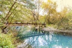 Bello paesaggio pittoresco di autunno del fiume nella montagna Immagine Stock