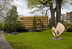 Bello paesaggio urbano con passeggiata di Montreux, Svizzera Immagini Stock Libere da Diritti