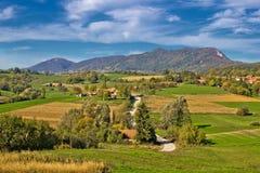 Bello paesaggio verde della regione di Prigorje Immagine Stock Libera da Diritti