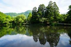 Bello paesaggio verde naturale abbondante della montagna sul lago fresco Kinrin con il percorso di camminata durante la primavera Immagini Stock Libere da Diritti