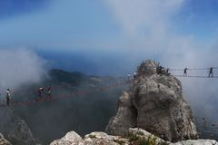 Bello paesaggio visibile sulle montagne di ai-Pétri a Yalta Immagine Stock